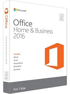 Pakke med tekst Microsoft Office 2016 MAC Home and Business