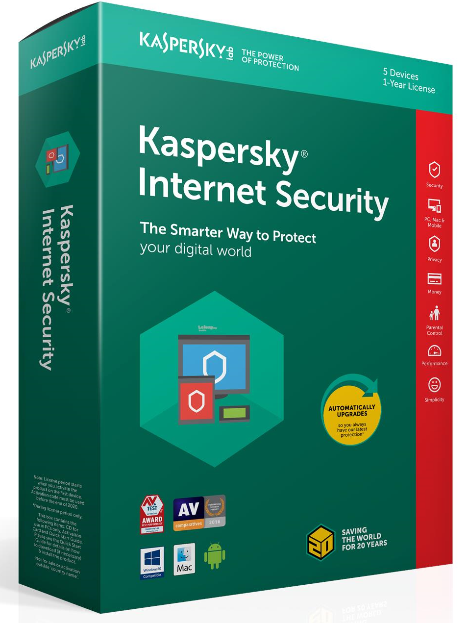 Kaspersky Internet Security 2019 - 1 år - 5 enheder - Kaspersky Internet Security 2019 - 1 år - 5 enheder Version : Kaspersky Internet Security 2019 Produkttype : Sikkerhedssoftware Produktserie : Kaspersky Producent : Kaspersky Lab Software : Kaspersky Internet Security 2019 Sprog : Dansk, Engelsk (eller an